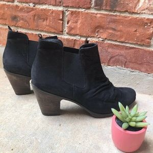 PAUL GREEN Jano black nubuck ruched ankle booties